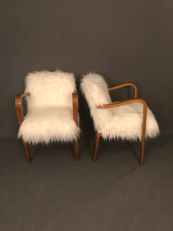 """Curated Pair of Mid-Century chairs  designed by: """"Thonet"""" with new faux fur"""