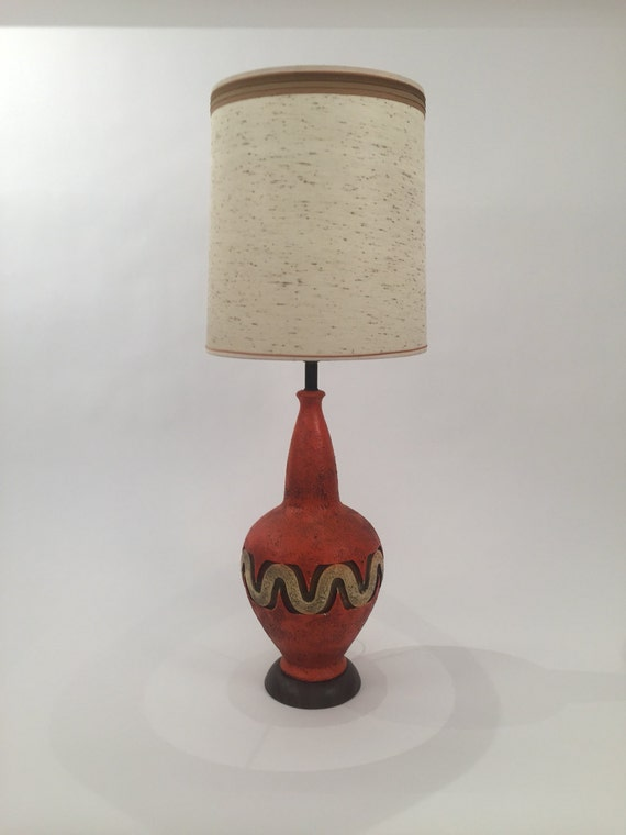 Mid-Century Hand Made Ceramic orange lamp