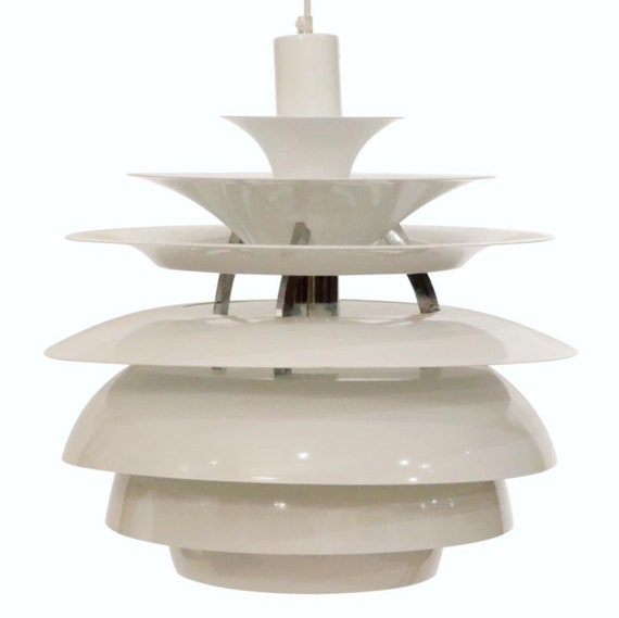 Mid century Italian white metal chandelier