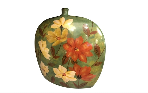 Mid Century Ceramic Hand Painted Flower Vase