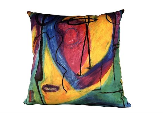 """Modern Handmade """"Bruce Mishell"""" Print Velvet Pillow"""