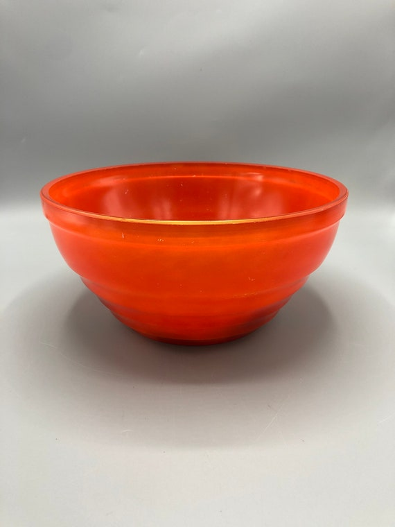 Mid century orange Pyrex glass bowl 1960's Circa
