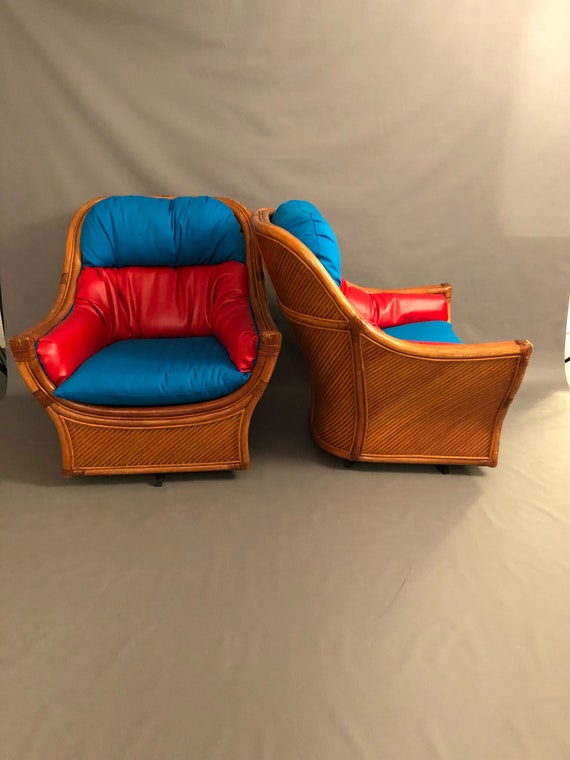 Mid-Century pair rattan & Bamboo swivel chairs
