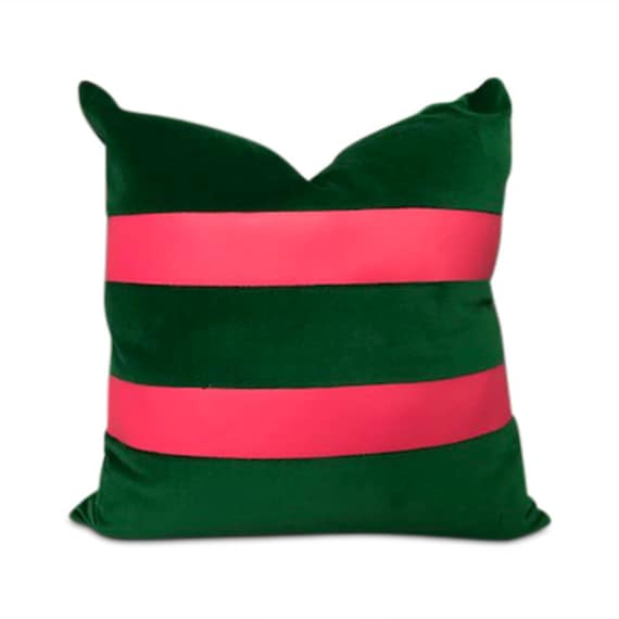 "Handmade square green velvet with 2 pink vinyl strips pillow 16"" x 16"" inches come with feather down insert."
