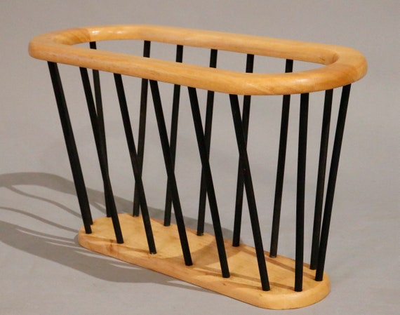 Mid-century walnut magazine rack 1970's