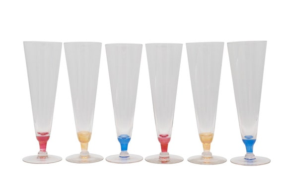 Mid century Italian coctail glasses multi color shades
