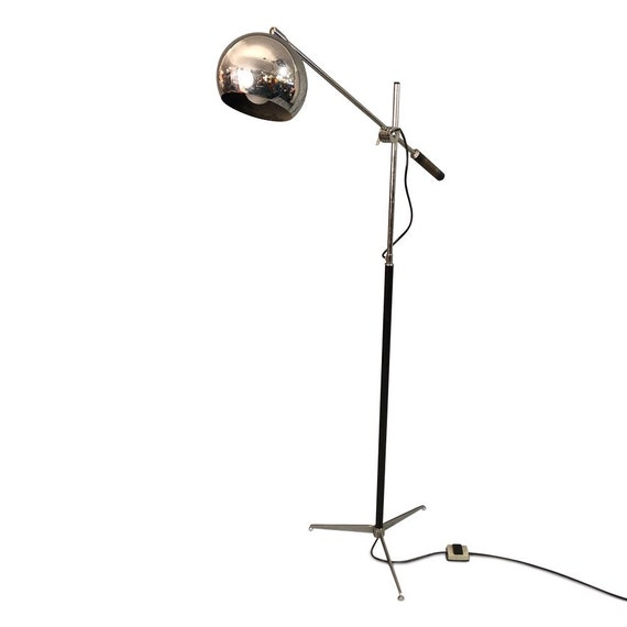 Mid century chrome adjustable floor lamp with dimmer switch 1960s