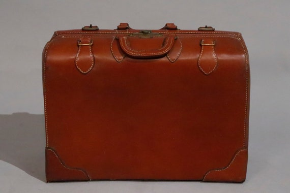 Mid century vintage brown real leather small suitcase carrier train 1960s circa