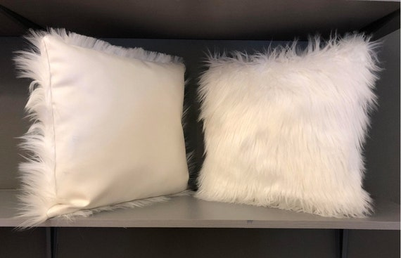 Modern Faux White Fur Pillows - A Pair