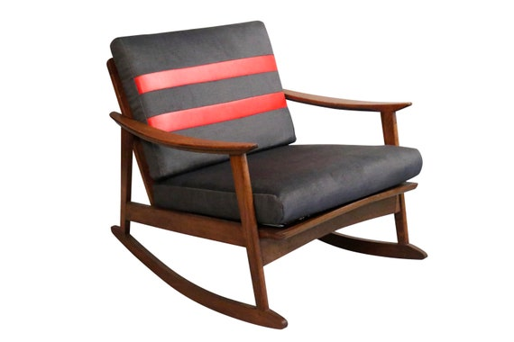 Mid-Century curated walnut rocker chair 1960s circa