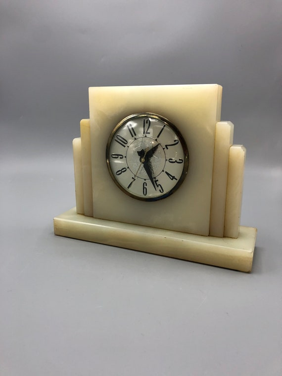 Art deco marble electric clock 1950s circa