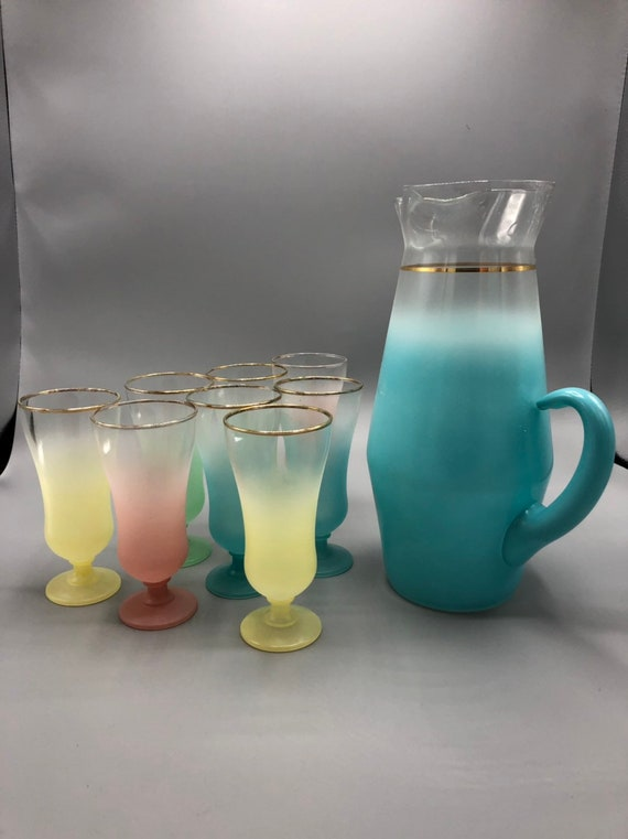 Mid century frosted glasses pitcher and 8 drinking glasses