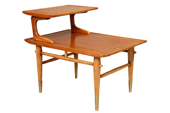 Curated mid century two tiers end table design by Lane 1970s circa