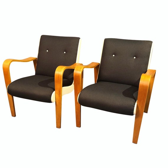 Century curated pair bentwood arm chairs lounge chairs in dark gray charcoal and white vinyl on the side heavy and sturdy