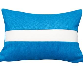 Handmade artisan lumber pillow blue linen with white Naugahyde stripe