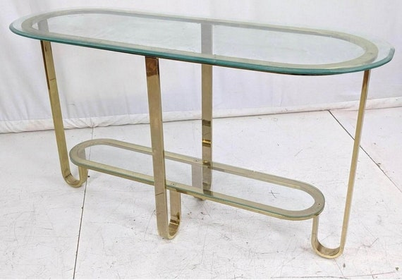 Hollywood Regency style vintage Decorator Brass and Glass Top Console Table with a Dimensions.