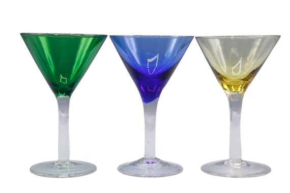 Mid century set of 3 handblown crystal martini glasses  1970's Circa