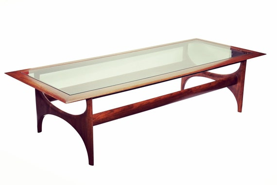 """Mid century walnut sleek coffee table with glass by """"Adrian Pearsall"""""""