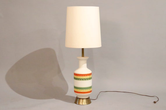Mid century ceramic table lamp with multi colors stripes 1960's circa