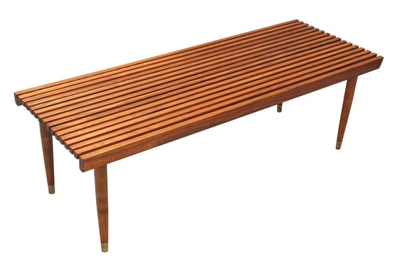 Mid century curated teak slate bench