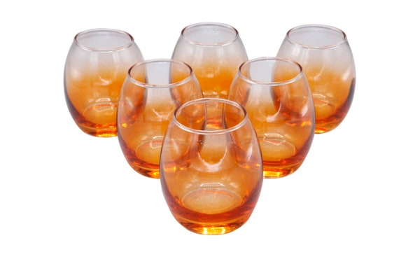Mid-Century set of 6 lowball  glasses with orange shade.  1960's Circa