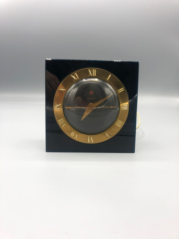 Art Deco Electric desk clock 1940's. Black & Gold