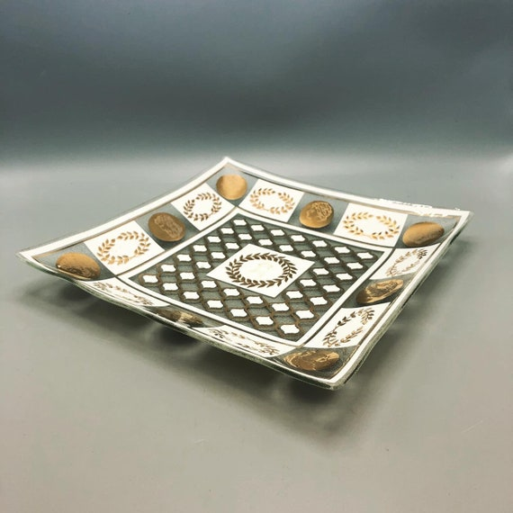 Mid-Century glass tray bowl with gold & white detail. 1960's
