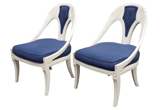 Pair of French Continental Caned Accent Chairs in White and Blue