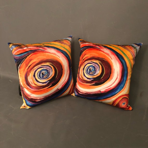 "Pair hand made pillows with abstract art print by ""Bruce Mishell""."