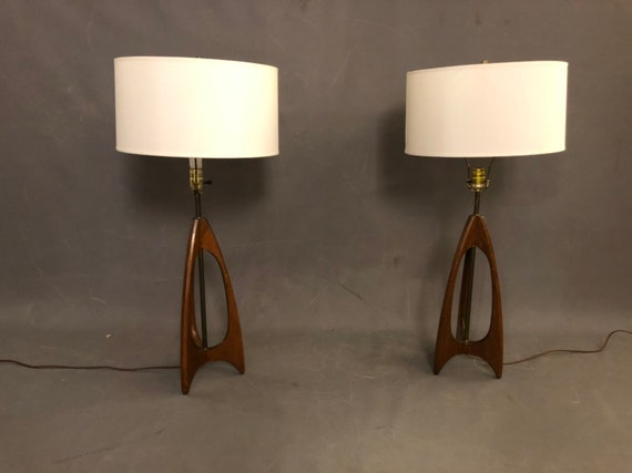 Danish walnut mid century table lamps with white shades (PAIR)