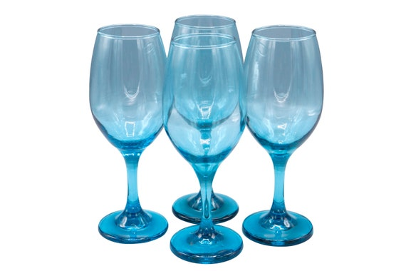 Heavy Mid century set of 4 handblown crystal wine glasses in blue shade in perfect condition. 1970's Circa