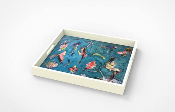 """Lacquer tray featured Artist Bruce Mishell titled """"The Birds"""""""