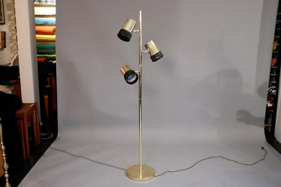 "Mid century brass gold floor lamp with three shades 1970's - 11""D x 61""H"