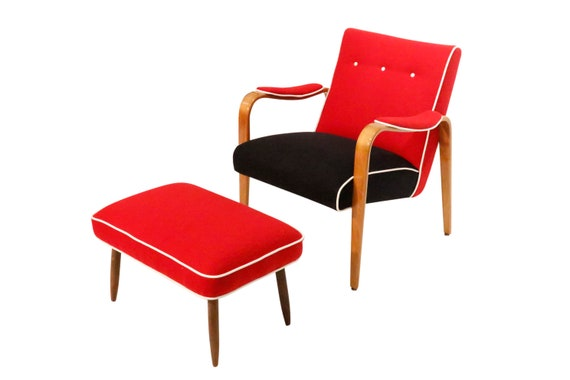 Mid Century curated lounge armchairs red and black