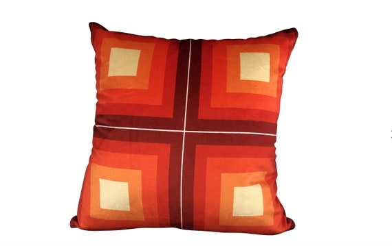 Contemporary Handmade Orange Velvet Geometric Pillow