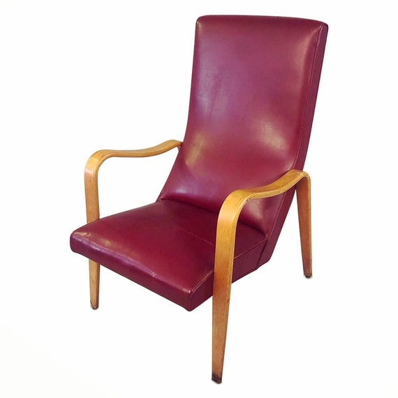 """Mid century high-back bentwood lounge chair with original purple vinyl 1960's """"Thonet"""""""