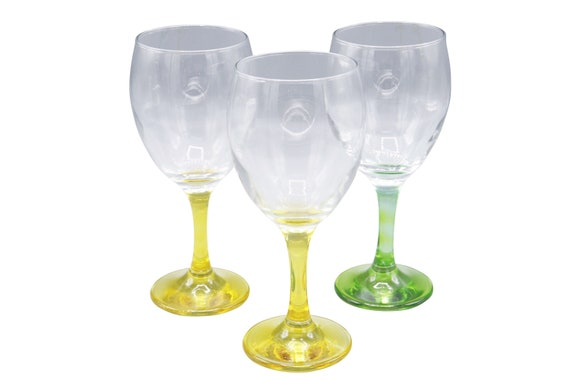 Mid century set of 3 handblown crystal wine glasses 1970's Circa