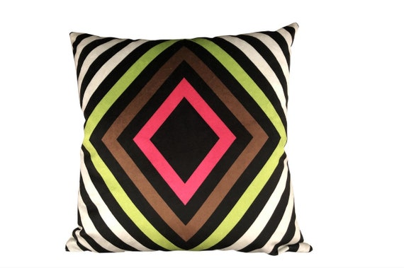 Contemporary Geometric Print Velvet Pillow