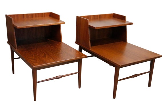 Mid century curated end tables nightstands walnut 1970s circa Mid