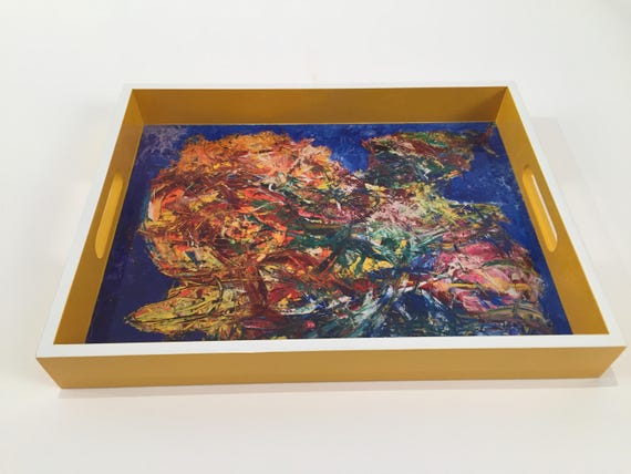 "Lacquer tray featured Artist Bruce Mishell"" titled ""The Yellow Duck"""
