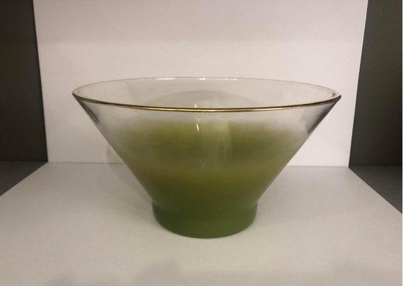 1970s Modern Green Blendo Glass Bowl