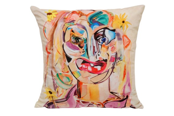 "Contemporary handmade velvet pillow by Artist ""Ryan Ostrowski"" Dimensions: 16"" x 16"" inches titled ""Molly"" Come with an insert."