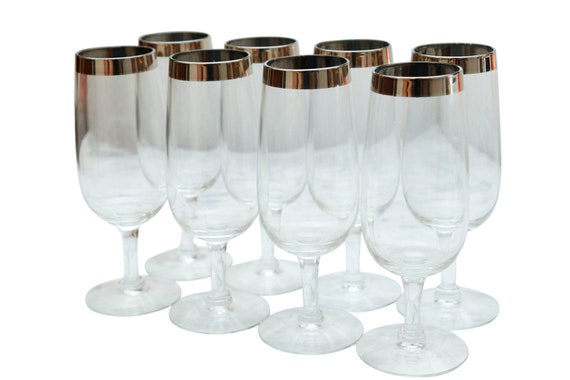 Mid-Century Clear Stamp Wine Glass With Silver Trim on the lip Set of 8