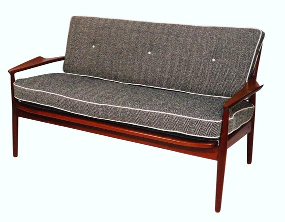 1970s curated mid century loveseat/sofa with new herringbone wool cushions