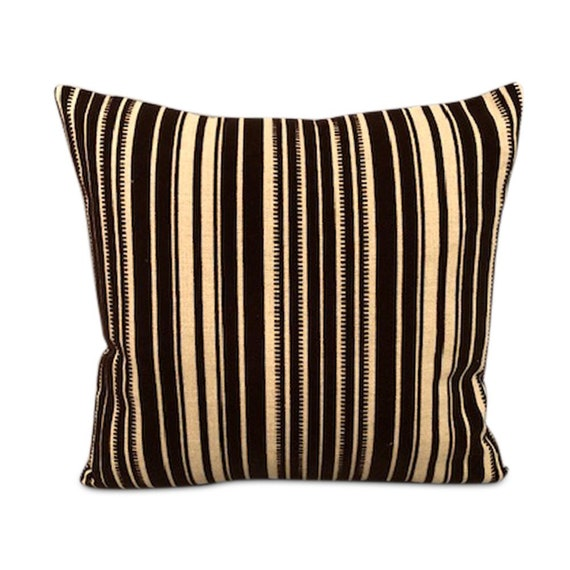"Handmade square pillow with high end cotton & velvet black/white geometric fabric 15"" x 15"" inches feather down insert."