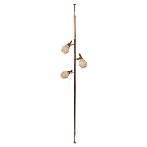Mid-Century Pole floor lamp with three glass shades