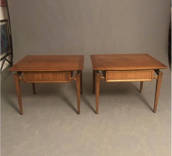 Mid-Century Pair of end tables, side tables , night stands, plant stands, entry tables, vintage, cane