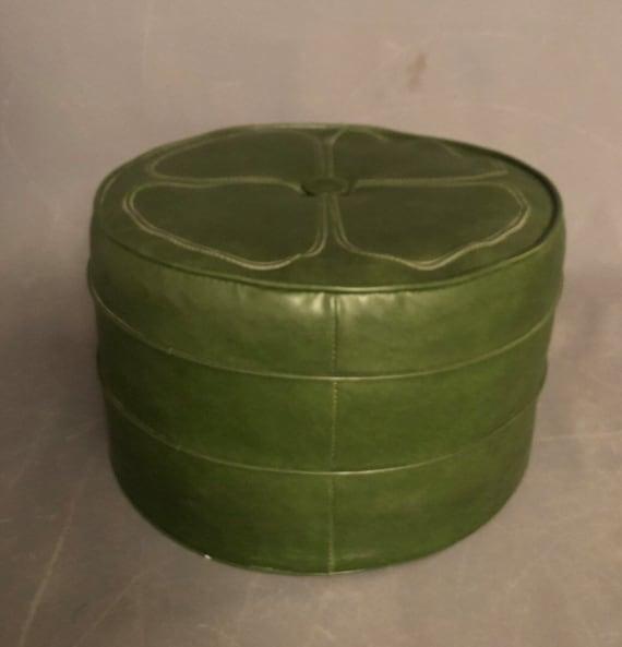 Mid-Century footstool with original green leather vinyl