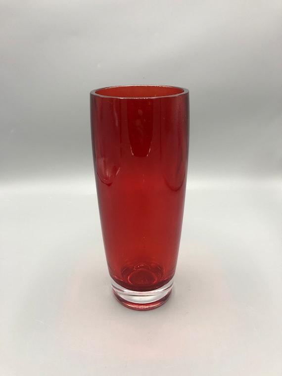 Mid century Italian amethyst red vase hand blown 1960s Circa