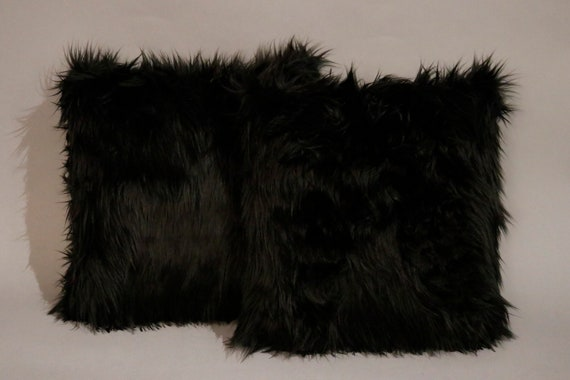 Pair of new black faux fur Mongolian pillows pair